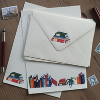 Illustrated letter paper and envelopes with original books design