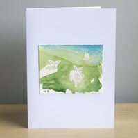Original Handmade Hand Painted Lambs 5x7 Greeting Card