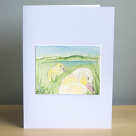 Original Handmade Hand Painted Duckling 5x7 Greeting Card