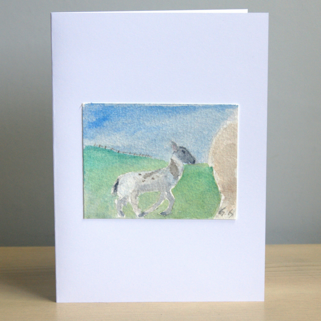 Original Handmade Hand Painted Lamb 5x7 Greeting Card