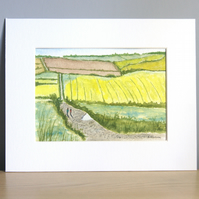 Original Watercolour Painting Walk Down the Country Track 17cm x 12cm