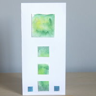 Vibrant Green Original Handmade DL Greeting Card