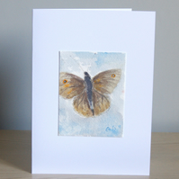 Original Handmade Hand Painted Meadow Brown Butterfly 5x7 Greeting Card
