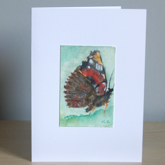 Original Handmade Hand Painted Red Admiral Butterfly 5x7 Greeting Card