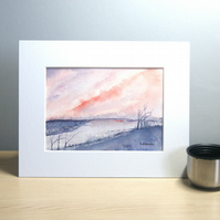 Original Watercolour Painting Winter Sky Wet Fields