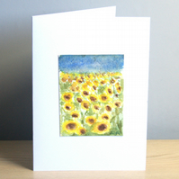Original Hand Painted Sunflowers 5x7 Greeting Card