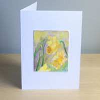 Original Handmade Hand Painted Daffodils 5x7 Greeting Card