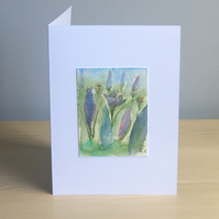 Original Handmade Hand Painted Crocus 5x7 Greeting Card
