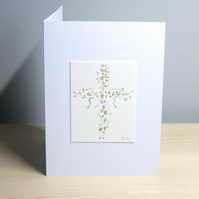 Original Handmade Hand Painted Floral Cross -  pink & red 5x7 Greeting Card
