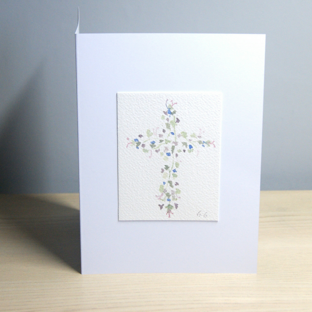 Original Handmade Hand Painted Floral Cross - blue & purple 5x7 Greeting Card