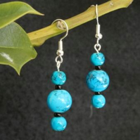 Turquoise Tripple Bead Earrings