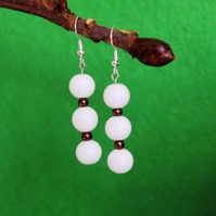 White Tripple Bead Earrings