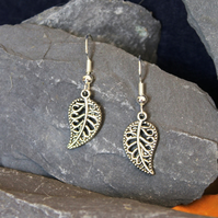 Silver Plated Filigree Leaf Earrings