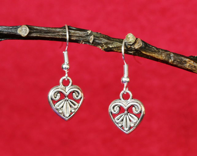 Filigree Heart Earrings.