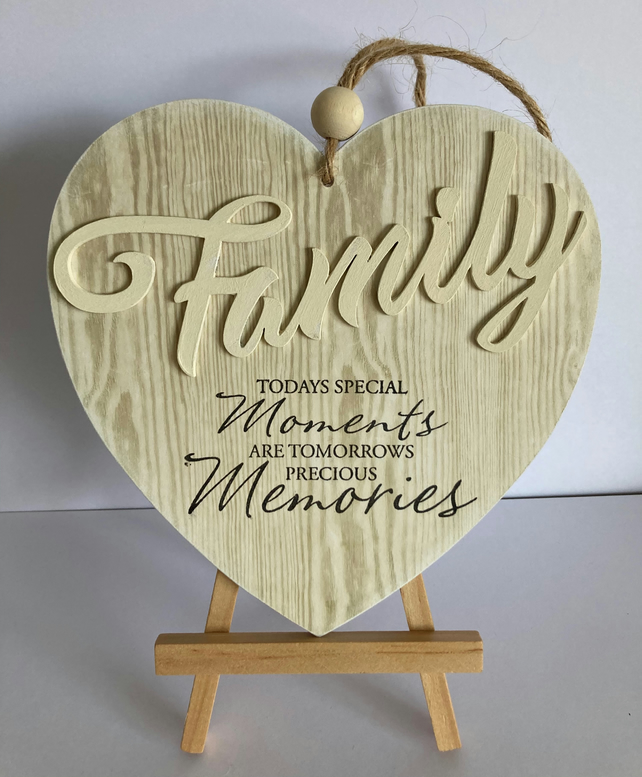Family Wooden Heart Hanging Decoration - Special Moments Plaque