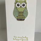 Handmade Friend Card - Owl