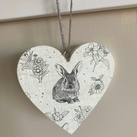 Rustic Rabbits Wooden Heart Hanging Decoration - Decoupage