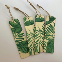 Handmade Wooden Tag or Bookmark: Tropical Ferns