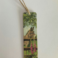 Handmade Wooden Tag or Bookmark: Donkey