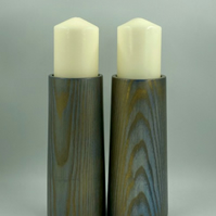 Pair of Sculptural Gilt Royal Blue Ash Pillar Candle Holders