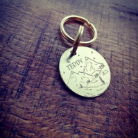 """trekking and the stars"" Personalised engraved dog, cat, pet ID tag for collar"