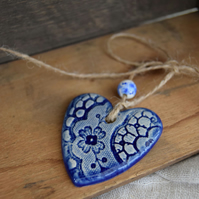 Blue Hanging Heart