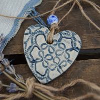 Rustic Blue Hanging Heart