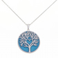 Pendant Necklace Silver and Enamel Tree of Life with Entangled Heart - Blue