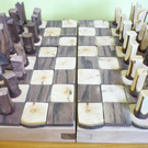"Handcarved chess set, 32 pieces in applewood, 1"" - 2.5"" tall"
