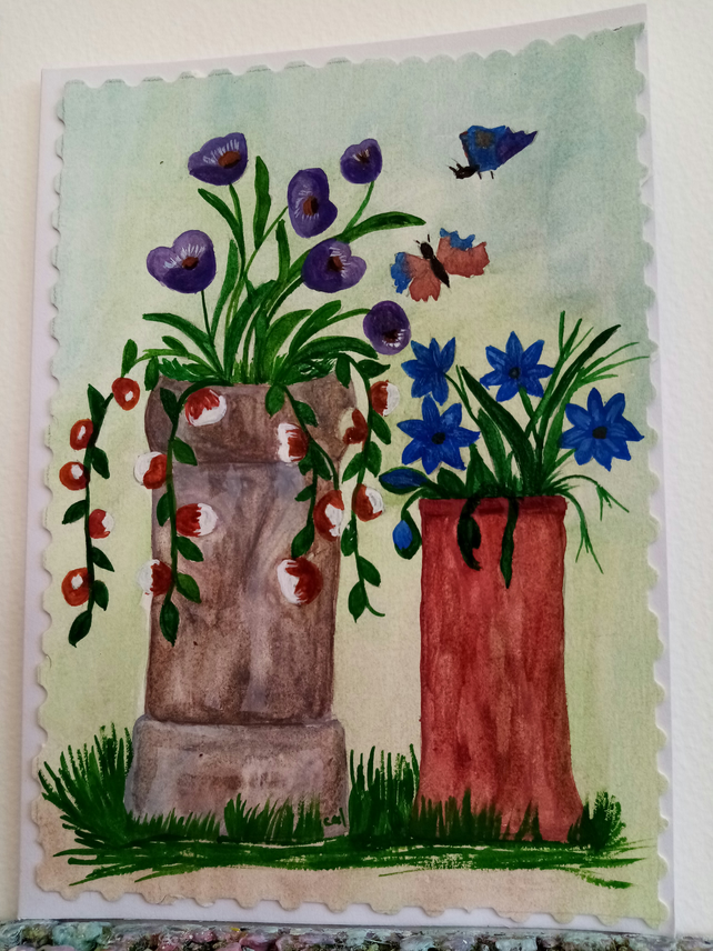 Hand painted  Birthday card. Chimneys