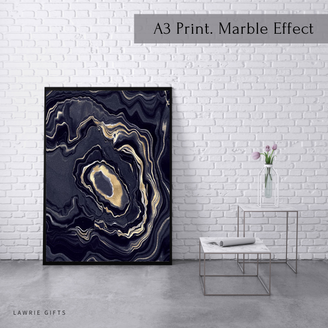 Wall Art Prints, Deep Grey Marble Poster, Grey, Black And Gold Wall Art, Modern