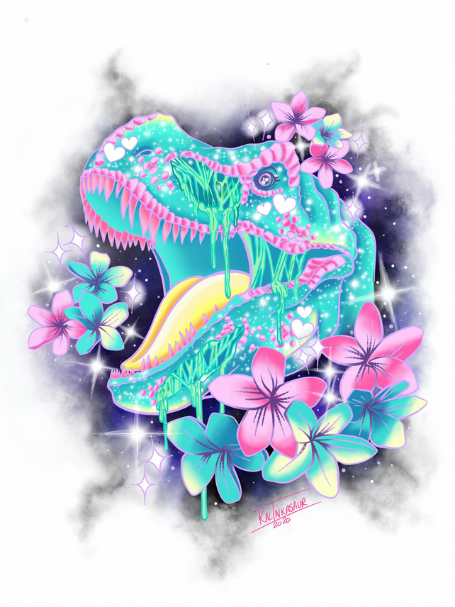 Magical Kawaii Candy Gore Dinosaur Art Prints Folksy I can't wait to buy more from this shop in the future! folksy