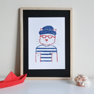 Barnaby the Hipster Fisherman Cat – Original Handmade Lino Print