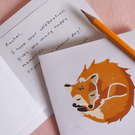 Red Sleeping Fox – Original Handmade Lino Print – Folded Card