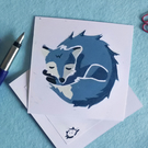 Prussian Blue Sleeping Fox – Original Handmade Lino Print – Flat Card