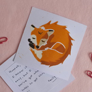 Fire Sleeping Fox – Original Handmade Lino Print – Flat Card