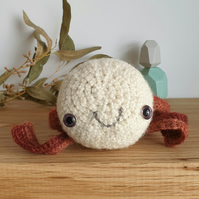 Woolly Pebble Creature - White & Red