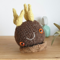 Woolly Pebble Creature - Brown & Yellow