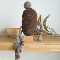 Woolly Pebble Creature - Brown & Tan