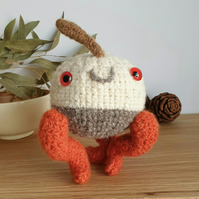 Woolly Pebble Creature - White & Orange