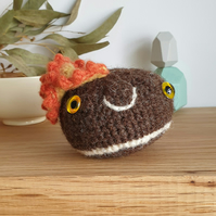 Woolly Pebble Creature - Brown & Orange