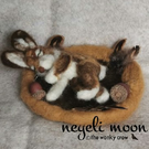 Sleeping Autumn Hare Needle Felted Sculpture