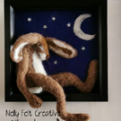 3d Fibre Art 'Waning' Hare Framed Needle Felted