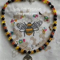 Yellow Amber Queen bee Amber Necklace