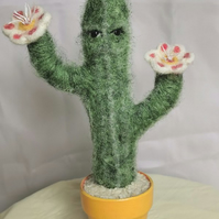 Needle Felted Character Cactus in Terracotta pot Faux house plant