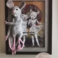 Charming 3d Needle Felted Mouse Photo Frame OOAK