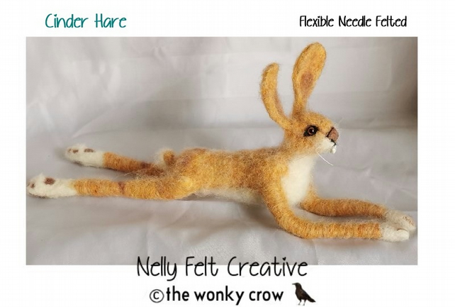 Cinder Sprawling Hare Flexible Needle Felted Hare Design OOAK