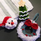 Handmade crochet Christmas Santa Wreaths Xmas tree decoration baubles