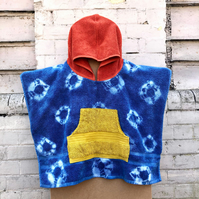 Kids Towel Poncho - Size small - Natural Indigo tie-dye with orange and yellow