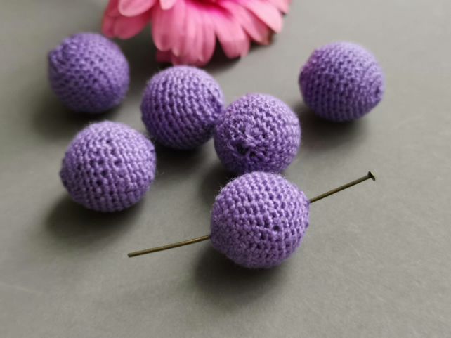 Handmade crochet beads - purple colour - 10 mm - pack of 2